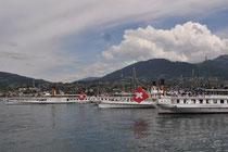 Schiffsparade vor Vevey