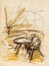 At The Table . 40 x 30 cm . Pastel & Charcoal On Paper