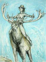 Die Hirschreiterin . 75 x 55 cm . Pastel & Charcoal On Paper
