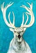 Hirschbrunft . 100 x 70 cm . Pastel & Charcoal On Paper