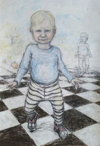 Walker . 100 x 70 cm . Pastel & Charcoal On Paper