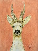 Rehbock Auf Lachs . 40 x 30 cm . Pastel & Charcoal On Paper