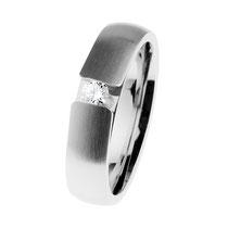 Ring Edelstahl matt/poliert, Brill. TW/SI 0,10 ct., R516. Preis: 399,- €