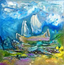Lonely Sailor (encre sur toile 30X30 cm - vendu)  - © B. Dupuis