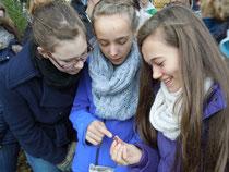 Schülerinnen des ELG beim Inspizieren einer Haselnuss