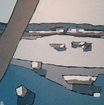 Ambiance Lacustre Lac Hossegor 1 Enduit acrylique sur toile 50x50cm 2018