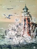 A l'assaut du phare Mixte sur toile 50x70cm 2017