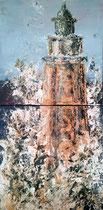 A l'assaut du phare Dyptique Mixte sur toile 2x50x50cm 2017