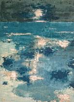 Ambiance océane nocturne Mixte sur toile 50x70cm 2017