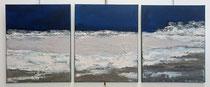 Ambiance Lacustre 1 Enduit acrylique sur toile Tryptique 3x50x60cm 2018