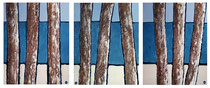 Pins et Océan Enduit acrylique sur toile Tryptique 3x40x50cm 2018