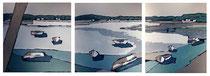 Ambiance Lacustre 3 Enduit acrylique sur toile Tryptique 3x50x50cm 2018
