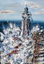 A l'assaut du phare 2 Mixte sur toile 50x70cm 2017