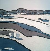 Ambiance Lacustre Lac Hossegor 2 Enduit acrylique sur toile 50x50cm 2018