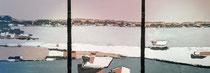 Ambiance Lacustre 2 Enduit acrylique sur toile Tryptique 3x50x60cm 2018