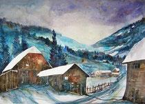 Bauernhäuser im Schnee  56 x 76