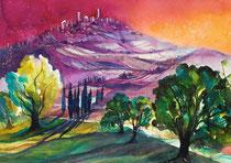 Toskana Blick auf San Gimignano   56 x 76