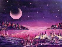 Acryl Winterlandschaft mit Mond  50 x 65