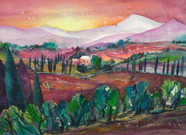 Toscanalandschaft in Aquarell   56 x 76