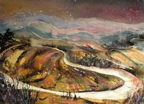 Aquarell Toskana Landschaft 2   56 x 76