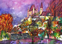 Blick auf Schloss Thun   Aquarell gemalt auf Fabriano satinata 640g   56 x 76