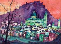 Salzburg Altstadt Blick vom Kapuzinerberg  56 x 76
