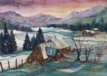 Bauernhäuser im Winter  56 x 76