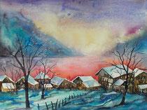 Wintermorgen am Thunersee   50 x 65