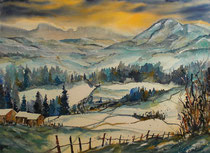 Aquarell Winterlandschaft bei Sonnenuntergang  45.5 x 61