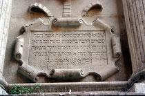 San Giuliano Venedig Rangone-Fassade; hebräische Inschrift