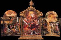 El Greco, Triptychon von Modena 1560-65 Vorderseite Mittelteil, Erhöhung e.christl. Ritters