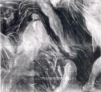 Jacopo Tintoretto idem, Radiographie linke untere Ecke mit Pentimenti