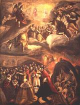 El Grecos Werkstatt, ev. Kopie einer Variante der Anbetung der Dreieinigkeit, Madrid Museo Lazaro Galdiano, Öl/Lw.146x112cm