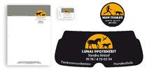Logo und Geschäftsausstattung für Hundeschule: Briefbogen, Visitenkarten, Heckscheibenwerbung, Aufkleber, Warnwestenbedruckung, Vorlagen für Homepagegestaltung (2015)