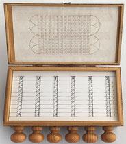 Calculadora SCHOTT, año 1668, réplica hecha en Alemania, 23x12x6 cm