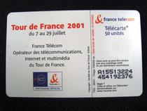 Carte Tour de France 2001 50u