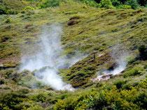Fumerolles dans le cratère