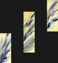 Strandgut, Struktur und Halme auf Leinwand, 2 x 22/58 + 1 x 22/78cm, Vivian Wieling, 490 Euro