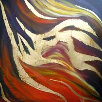 Fire  of life II, Öl auf Leinwand mit Schlagmetall Blattgold, 90/90cm, Vivian Wieling, 490 Euro