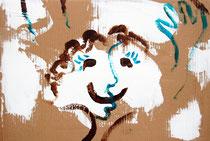 """Kuss"", Acryl auf Wellpappe, 50 x 40 cm"