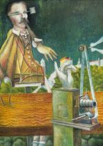 SONNENFINSTERNIS Öl auf Spanplatte - 70 x 50 cm