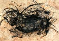 RETINTO V    Erden, Tintensekret vom Kalmar und Olivensaft auf Papier - 21 x 29 cm