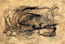 RETINTO IV    Erden, Tintensekret vom Kalmar und Olivensaft auf Papier - 21 x 29 cm