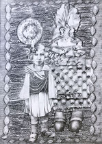 GIARDINIA LAMBROS Graphit auf Papier - 70 x 50 cm