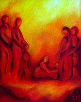 Titel: Oranjegele mensen Materiaal: Acryl Afmeting: 50cm x 40cm
