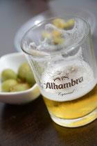 Spanisches Bier, Bierfoto, Bierglas, Tapas