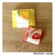 Petite Graine 瀬戸内レモンケーキと赤米マロン・包装イラスト
