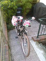 feewerk, Lenkertasche, Fahrradtasche, Hollandrad, Fahrrad, Blumen, Rose