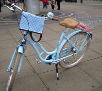 feewerk, Lenkertasche, Fahrradtasche, Hollandrad, Fahrrad, hellblau, Blumen