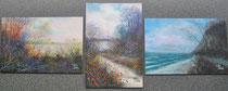 Landschaften,Steffen Metzler, Öl auf MTF, je 10x15cm